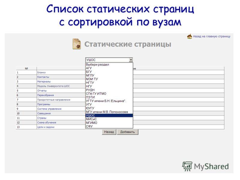 Список статических страниц с сортировкой по вузам
