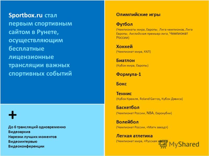 + До 6 трансляций одновременно Видеоархив Нарезки лучших моментов Видеоинтервью Видеоконференции Sportbox.ru стал первым спортивным сайтом в Рунете, осуществляющим бесплатные лицензионные трансляции важных спортивных событий Олимпийские игры Футбол (