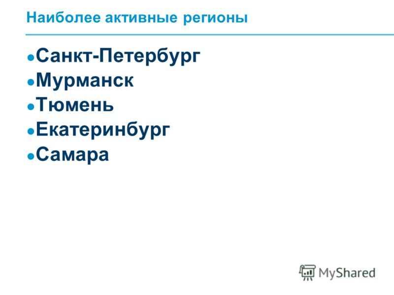 Наиболее активные регионы Санкт-Петербург Мурманск Тюмень Екатеринбург Самара