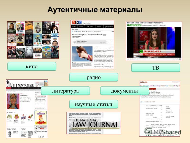 Аутентичные материалы кино ТВ радио литература научные статьи документы