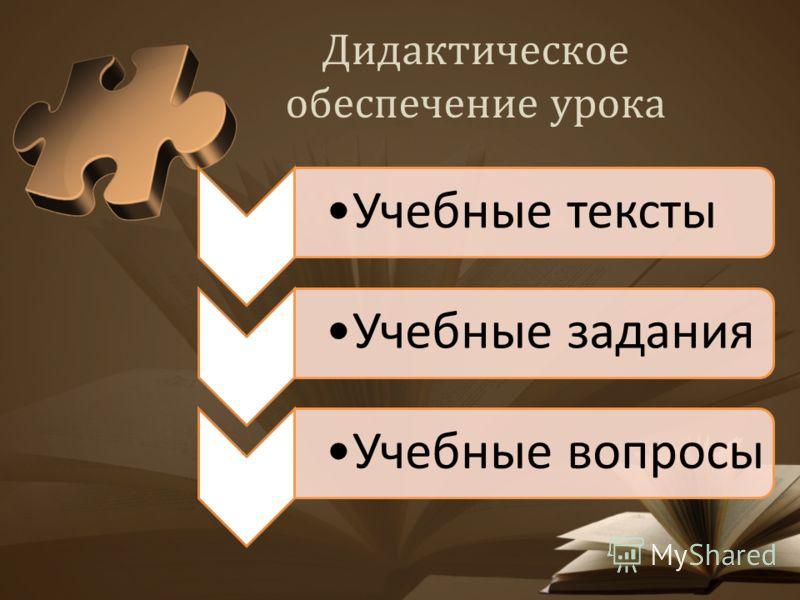 Дидактическое обеспечение урока Учебные текстыУчебные заданияУчебные вопросы
