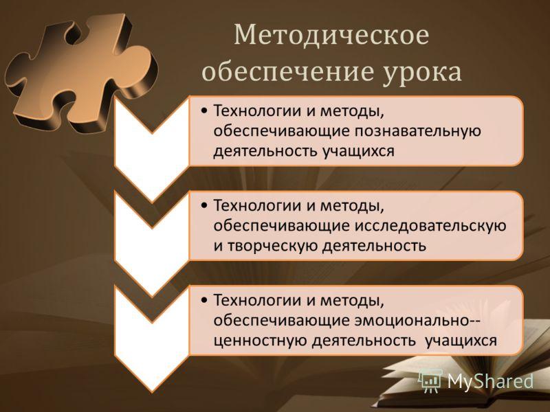 Методическое обеспечение урока Технологии и методы, обеспечивающие познавательную деятельность учащихся Технологии и методы, обеспечивающие исследовательскую и творческую деятельность Технологии и методы, обеспечивающие эмоционально-- ценностную деят