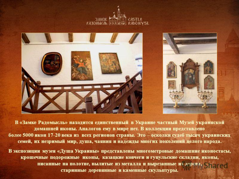 В «Замке Радомысль» находится единственный в Украине частный Музей украинской домашней иконы. Аналогов ему в мире нет. В коллекции представлено более 5000 икон 17-20 века из всех регионов страны. Это – осколки судеб тысяч украинских семей, их незримы