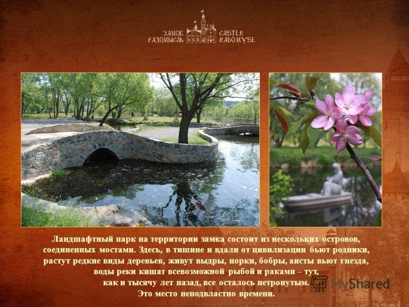 Ландшафтный парк на территории замка состоит из нескольких островов, соединенных мостами. Здесь, в тишине и вдали от цивилизации бьют родники, растут редкие виды деревьев, живут выдры, норки, бобры, аисты вьют гнезда, воды реки кишат всевозможной рыб