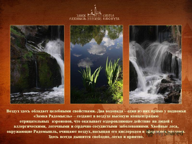 Воздух здесь обладает целебными свойствами. Два водопада – один из них прямо у подножья «Замка Радомысль» – создают в воздухе высокую концентрацию отрицательных аэроионов, что оказывает оздоровляющее действие на людей с аллергическими, легочными и се