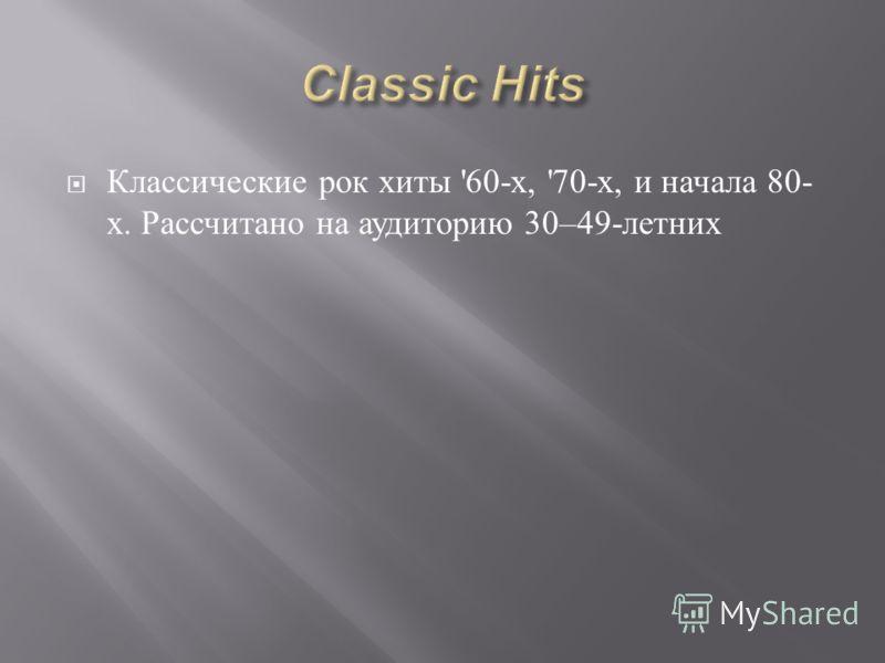 Классические рок хиты '60- х, '70- х, и начала 80- х. Рассчитано на аудиторию 30–49- летних