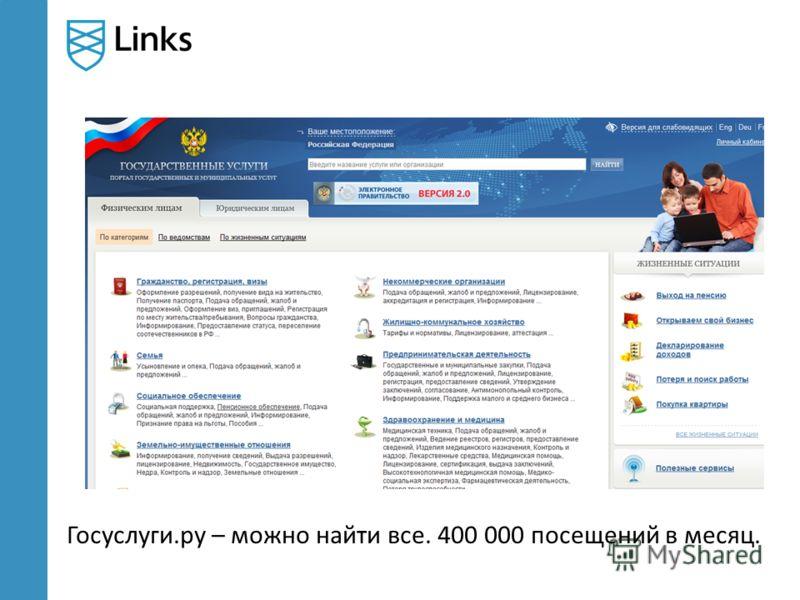 Госуслуги.ру – можно найти все. 400 000 посещений в месяц.