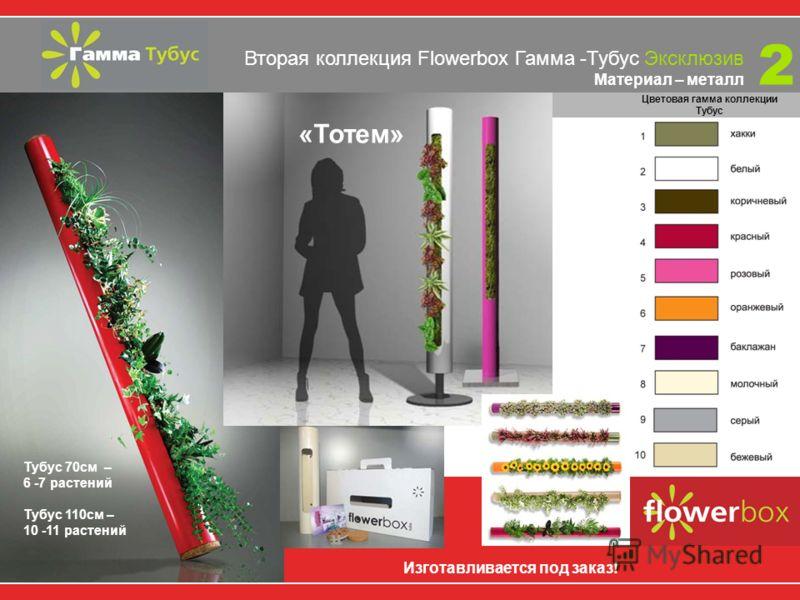 Вторая коллекция Flowerbox Гамма-Тубус Материал – металл Ваш личный зеленый уголок настоящей природы в буднях мегаполиса 2 Тубус 40 см – 3 - 4 растения