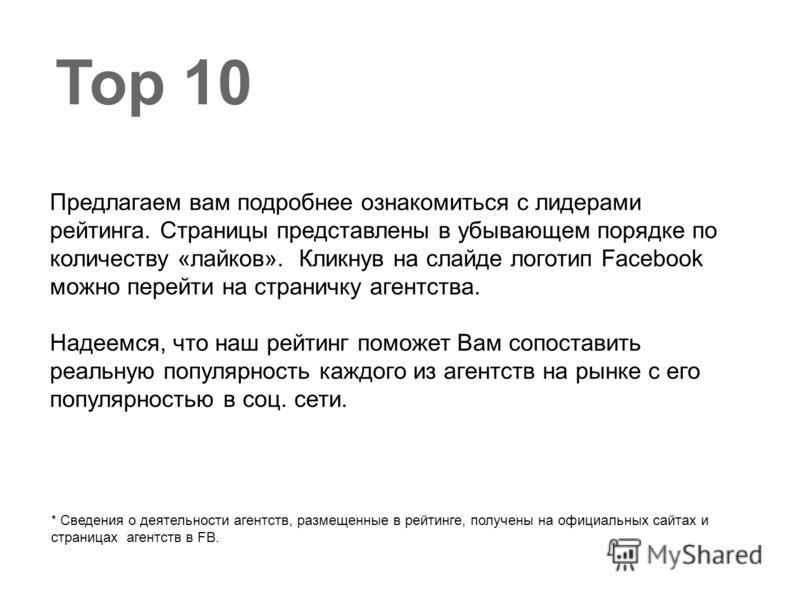 Top 10 Предлагаем вам подробнее ознакомиться с лидерами рейтинга. Страницы представлены в убывающем порядке по количеству «лайков». Кликнув на слайде логотип Facebook можно перейти на страничку агентства. Надеемся, что наш рейтинг поможет Вам сопоста