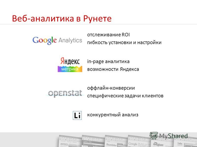 Веб-аналитика в Рунете отслеживание ROI гибкость установки и настройки in-page аналитика возможности Яндекса оффлайн-конверсии специфические задачи клиентов конкурентный анализ