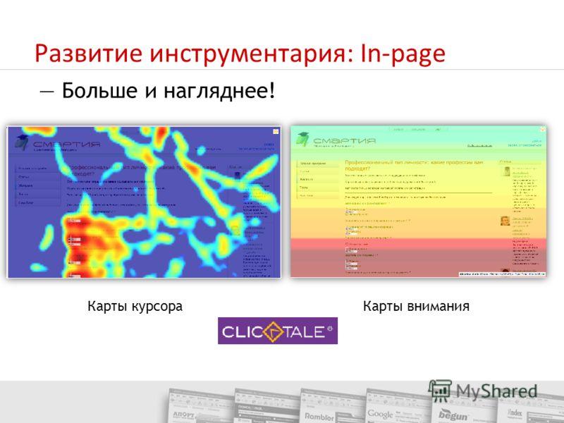 Развитие инструментария: In-page Карты курсораКарты внимания Больше и нагляднее!
