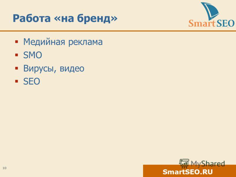 SmartSEO.RU Работа «на бренд» Медийная реклама SMO Вирусы, видео SEO 10