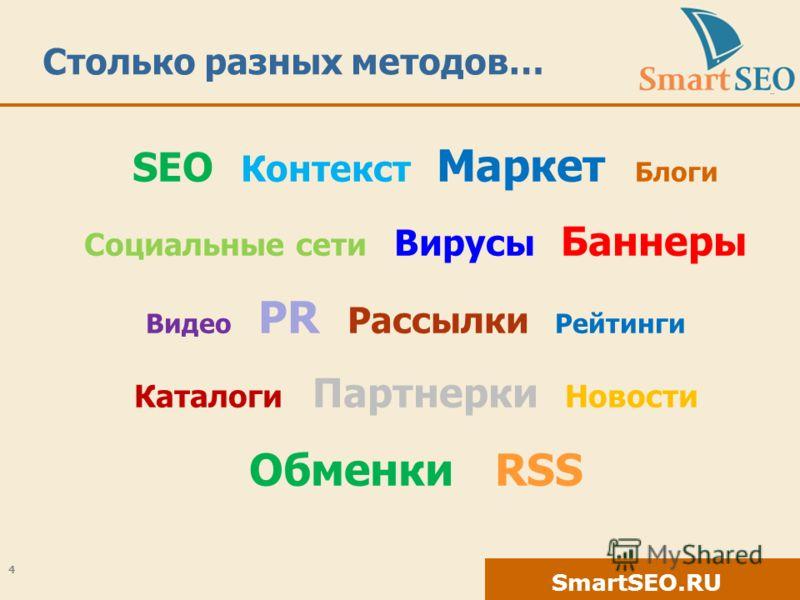 SmartSEO.RU Столько разных методов… SEO Контекст Маркет Блоги Социальные сети Вирусы Баннеры Видео PR Рассылки Рейтинги Каталоги Партнерки Новости Обменки RSS 4