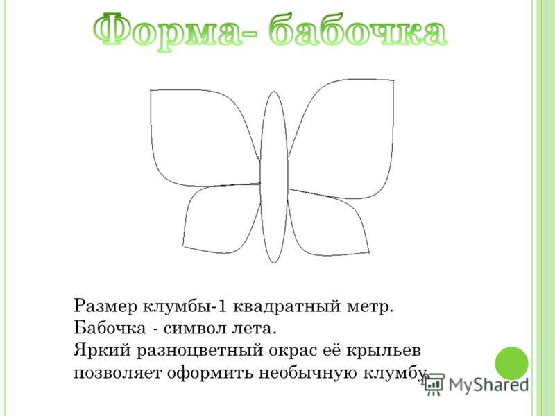 Размер клумбы-1 квадратный метр. Бабочка - символ лета. Яркий разноцветный окрас её крыльев позволяет оформить необычную клумбу.