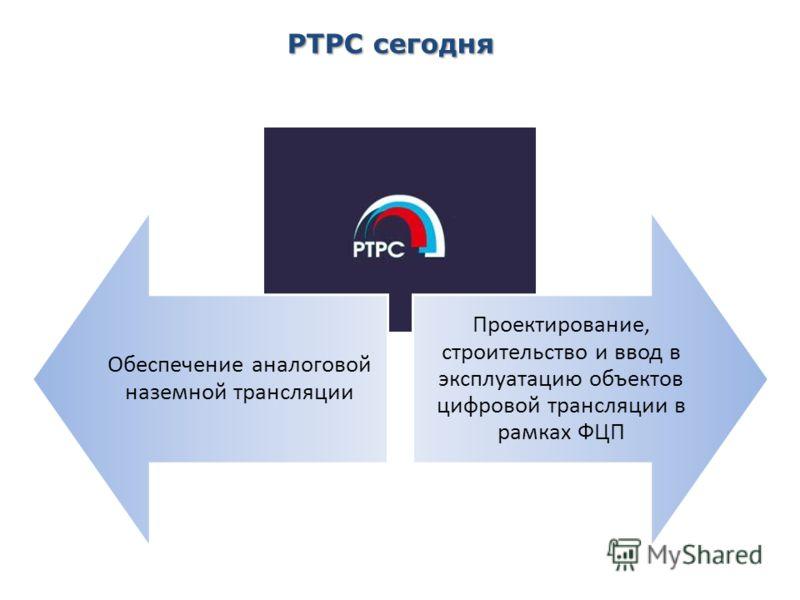2 РТРС сегодня Обеспечение аналоговой наземной трансляции Проектирование, строительство и ввод в эксплуатацию объектов цифровой трансляции в рамках ФЦП