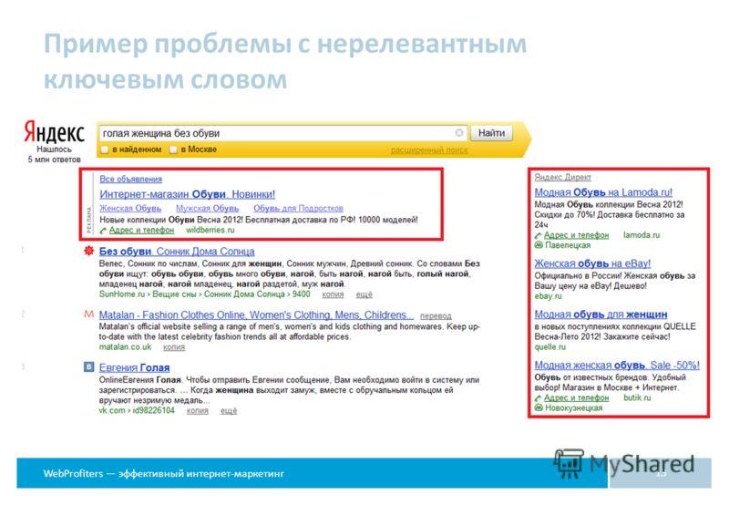 WebProfiters эффективный интернет-маркетинг Пример проблемы с нерелевантным ключевым словом 13
