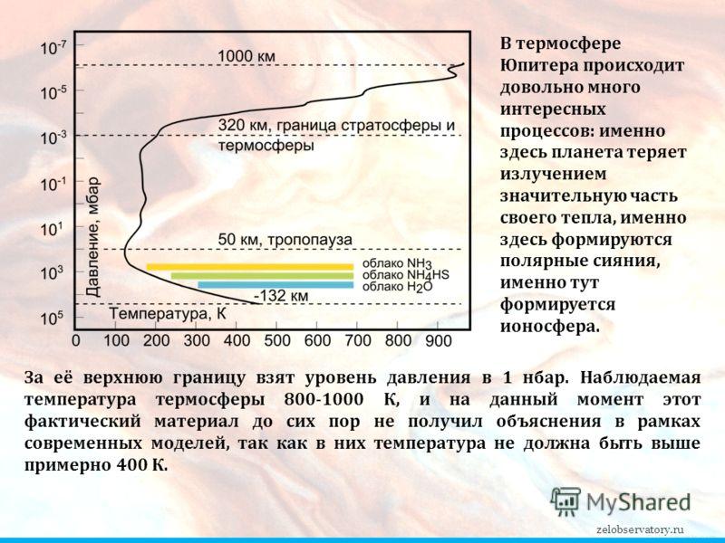 За её верхнюю границу взят уровень давления в 1 нбар. Наблюдаемая температура термосферы 800-1000 К, и на данный момент этот фактический материал до сих пор не получил объяснения в рамках современных моделей, так как в них температура не должна быть