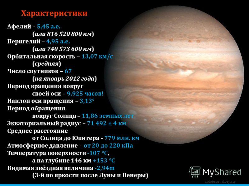 Характеристики Афелий – 5,45 а.е. (или 816 520 800 км) Перигелий – 4,95 а.е. (или 740 573 600 км) Орбитальная скорость – 13,07 км/с (средняя) Число спутников – 67 (на январь 2012 года) Период вращения вокруг своей оси – 9,925 часов! Наклон оси вращен