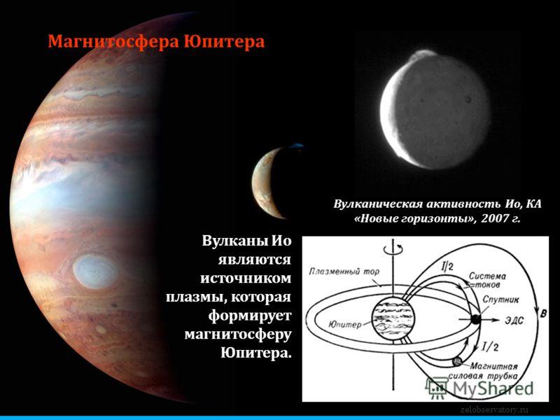 Магнитосфера Юпитера Вулканы Ио являются источником плазмы, которая формирует магнитосферу Юпитера. zelobservatory.ru Вулканическая активность Ио, КА «Новые горизонты», 2007 г.