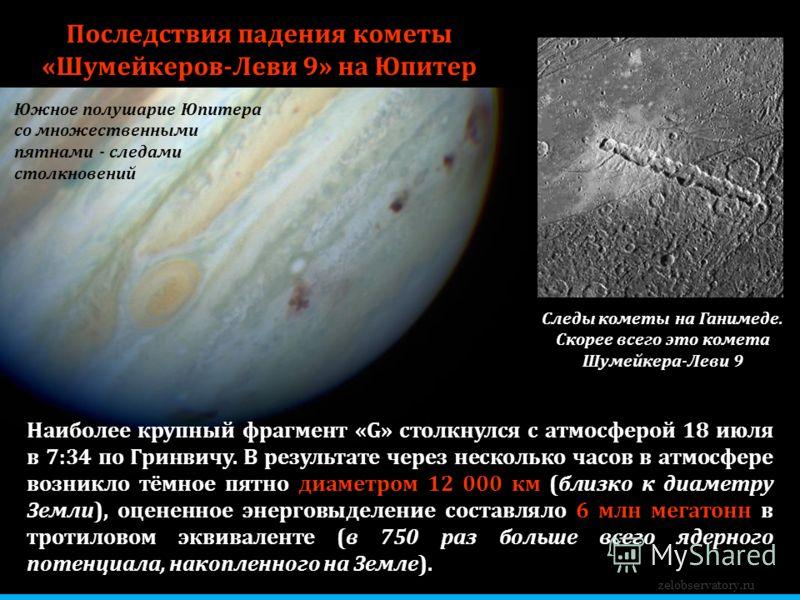 Южное полушарие Юпитера со множественными пятнами - следами столкновений zelobservatory.ru Последствия падения кометы «Шумейкеров-Леви 9» на Юпитер Наиболее крупный фрагмент «G» столкнулся с атмосферой 18 июля в 7:34 по Гринвичу. В результате через н