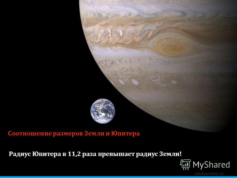 Соотношение размеров Земли и Юпитера Радиус Юпитера в 11,2 раза превышает радиус Земли! zelobservatory.ru