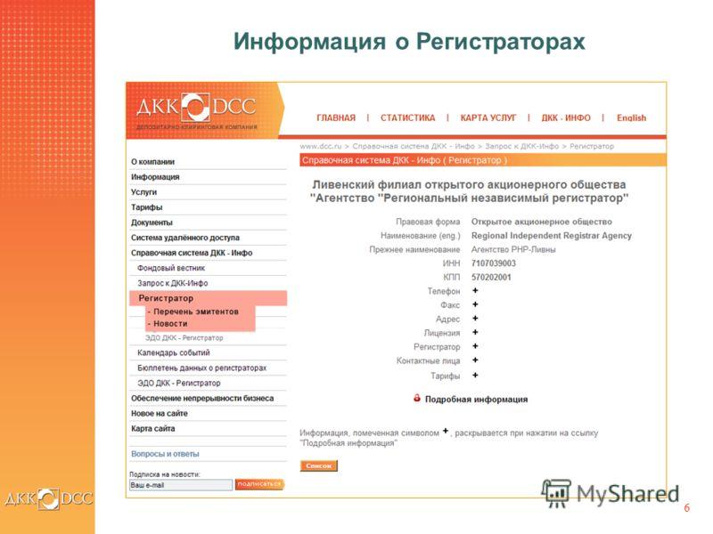 6 Информация о Регистраторах