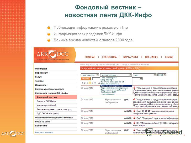 7 Фондовый вестник – новостная лента ДКК-Инфо Публикация информации в режиме on-line Информация всех разделов ДКК-Инфо Данные архива новостей с января 2000 года
