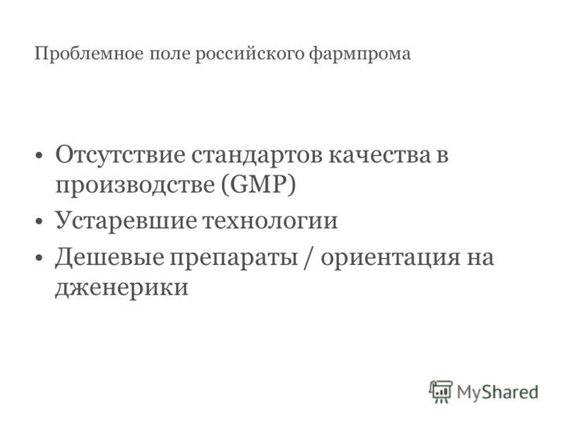 Проблемное поле российского фармпрома Отсутствие стандартов качества в производстве (GMP) Устаревшие технологии Дешевые препараты / ориентация на дженерики
