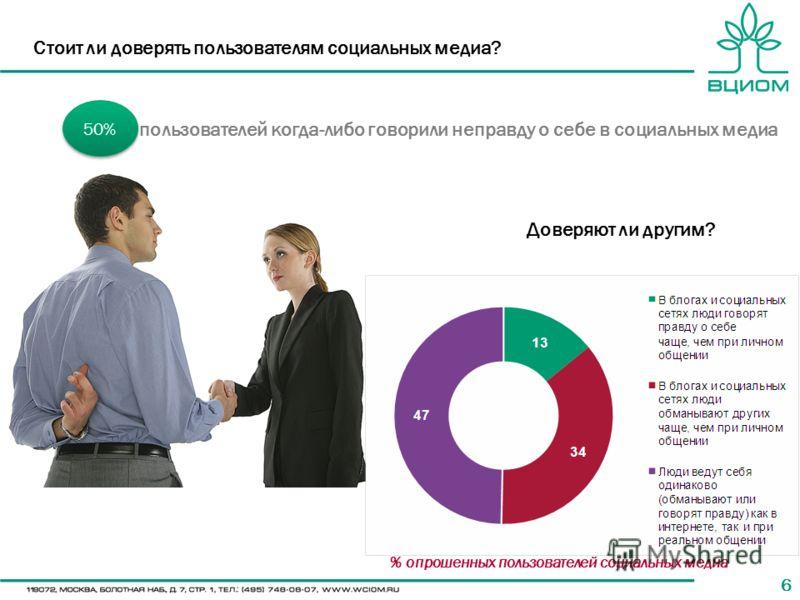 66 Стоит ли доверять пользователям социальных медиа? 50% пользователей когда-либо говорили неправду о себе в социальных медиа Доверяют ли другим? % опрошенных пользователей социальных медиа