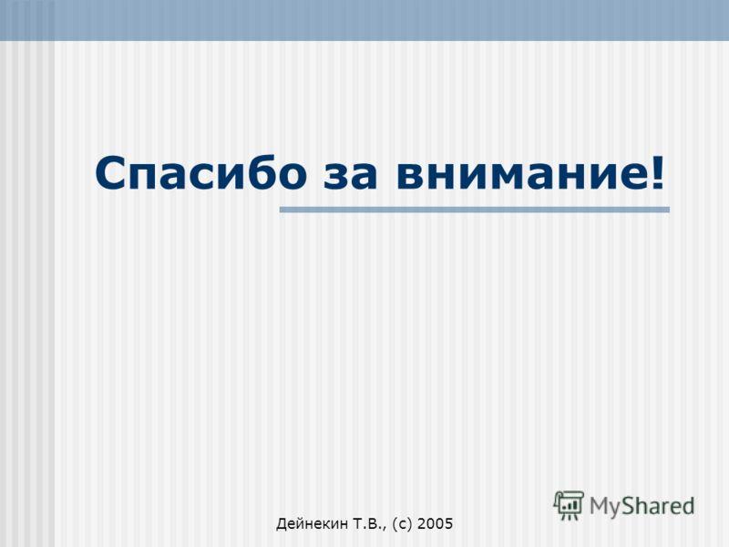 Дейнекин Т.В., (с) 2005 Спасибо за внимание!