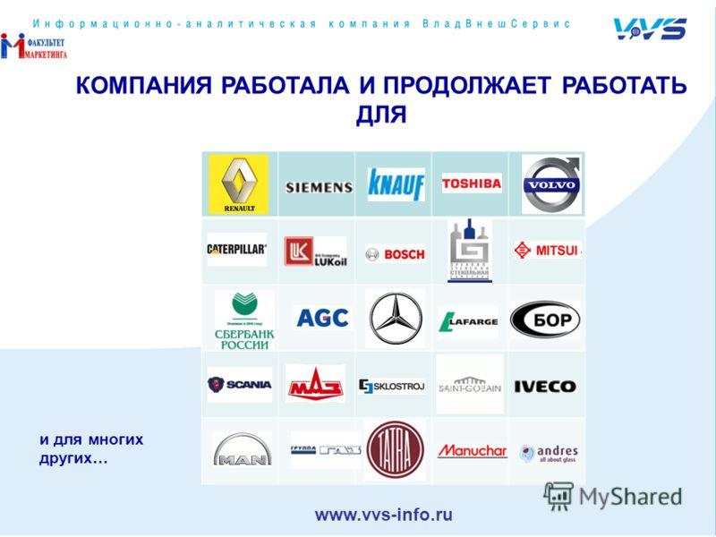 КОМПАНИЯ РАБОТАЛА И ПРОДОЛЖАЕТ РАБОТАТЬ ДЛЯ и для многих других… www.vvs-info.ru