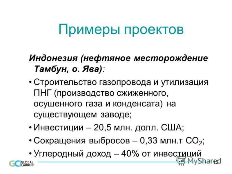 15 Примеры проектов Индонезия (нефтяное месторождение Тамбун, о. Ява): Строительство газопровода и утилизация ПНГ (производство сжиженного, осушенного газа и конденсата) на существующем заводе; Инвестиции – 20,5 млн. долл. США; Сокращения выбросов –