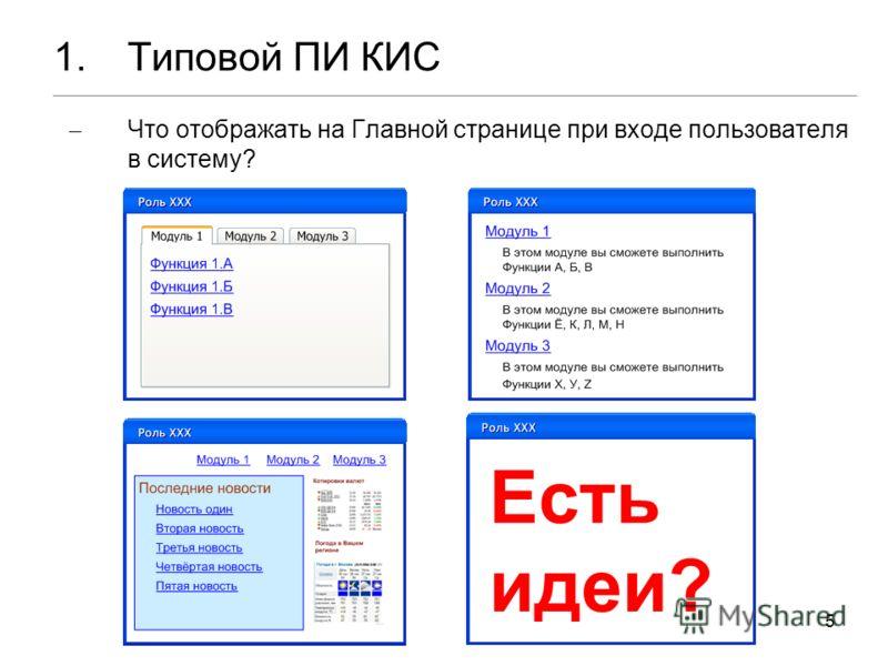 5 1.Типовой ПИ КИС Что отображать на Главной странице при входе пользователя в систему?