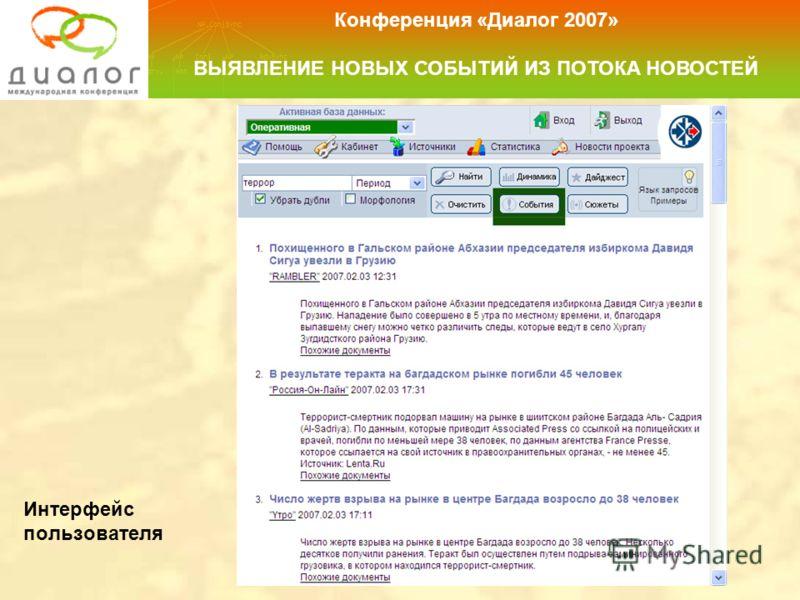 Интерфейс пользователя Конференция «Диалог 2007» ВЫЯВЛЕНИЕ НОВЫХ СОБЫТИЙ ИЗ ПОТОКА НОВОСТЕЙ
