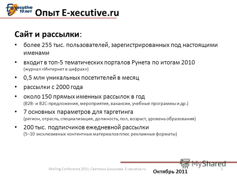 Сайт и рассылки: более 255 тыс. пользователей, зарегистрированных под настоящими именами входит в топ-5 тематических порталов Рунета по итогам 2010 (журнал «Интернет в цифрах») 0,5 млн уникальных посетителей в месяц рассылки с 2000 года около 150 пря