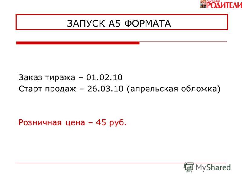 ЗАПУСК А5 ФОРМАТА Старт продаж – 26.03.10 (апрельская обложка) Розничная цена – 45 руб. Заказ тиража – 01.02.10