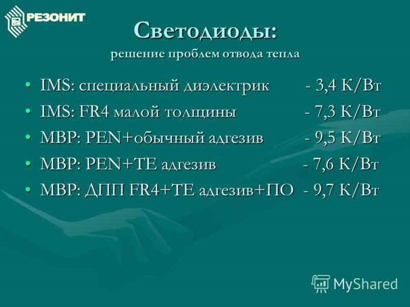 IMS: специальный диэлектрик - 3,4 К/ВтIMS: специальный диэлектрик - 3,4 К/Вт IMS: FR4 малой толщины - 7,3 К/ВтIMS: FR4 малой толщины - 7,3 К/Вт MBP: PEN+обычный адгезив - 9,5 К/ВтMBP: PEN+обычный адгезив - 9,5 К/Вт MBP: PEN+TE адгезив - 7,6 К/ВтMBP: