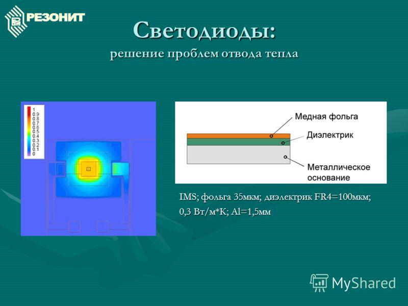 Светодиоды: решение проблем отвода тепла IMS; фольга 35мкм; диэлектрик FR4=100мкм; 0,3 Вт/м*К; Al=1,5мм