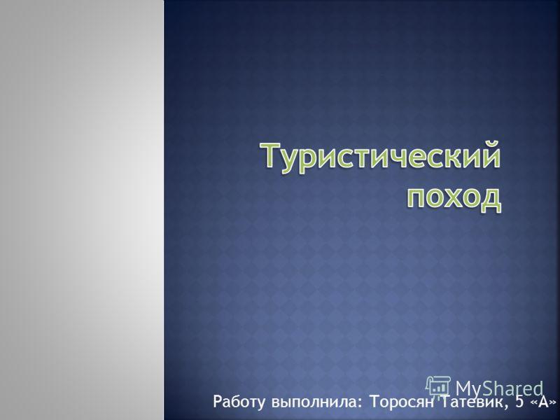 Работу выполнила: Торосян Татевик, 5 «А»