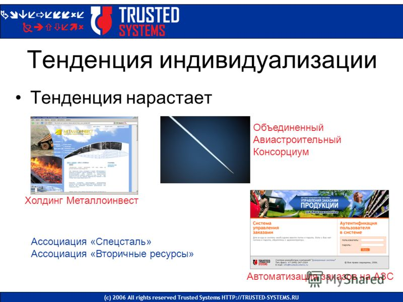 Тенденция индивидуализации Тенденция нарастает Доверенные Системы (с) 2006 All rights reserved Trusted Systems HTTP://TRUSTED-SYSTEMS.RU Холдинг Металлоинвест Автоматизация заказов на АЗС Объединенный Авиастроительный Консорциум Ассоциация «Спецсталь