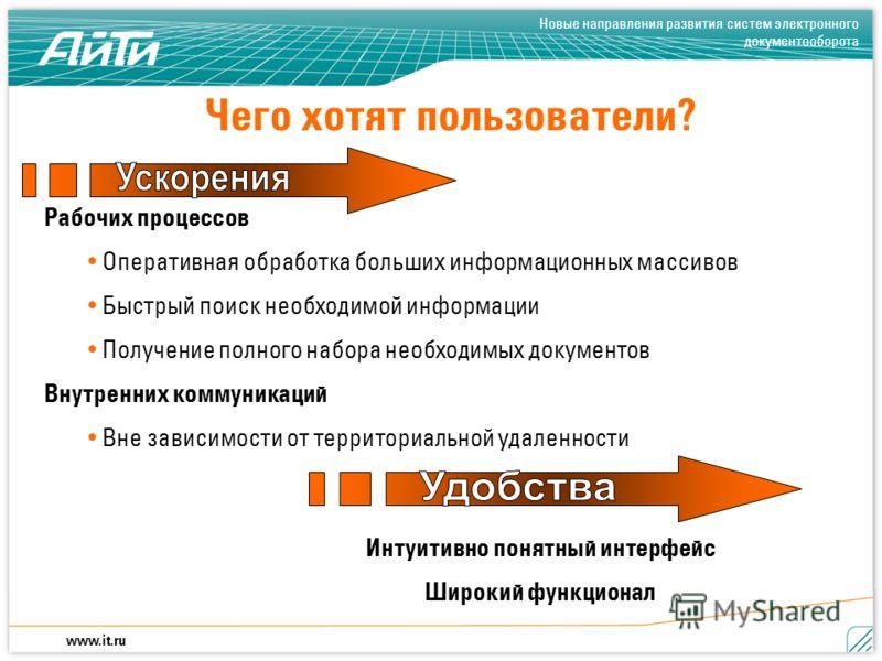 Новые направления развития систем электронного документооборота www.it.ru Чего хотят пользователи? Рабочих процессов Оперативная обработка больших информационных массивов Быстрый поиск необходимой информации Получение полного набора необходимых докум