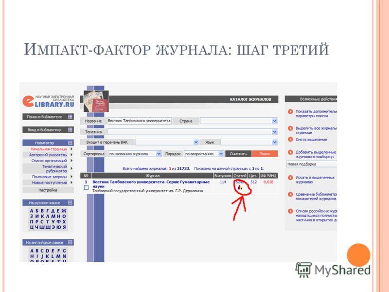 И МПАКТ - ФАКТОР ЖУРНАЛА : ШАГ ТРЕТИЙ