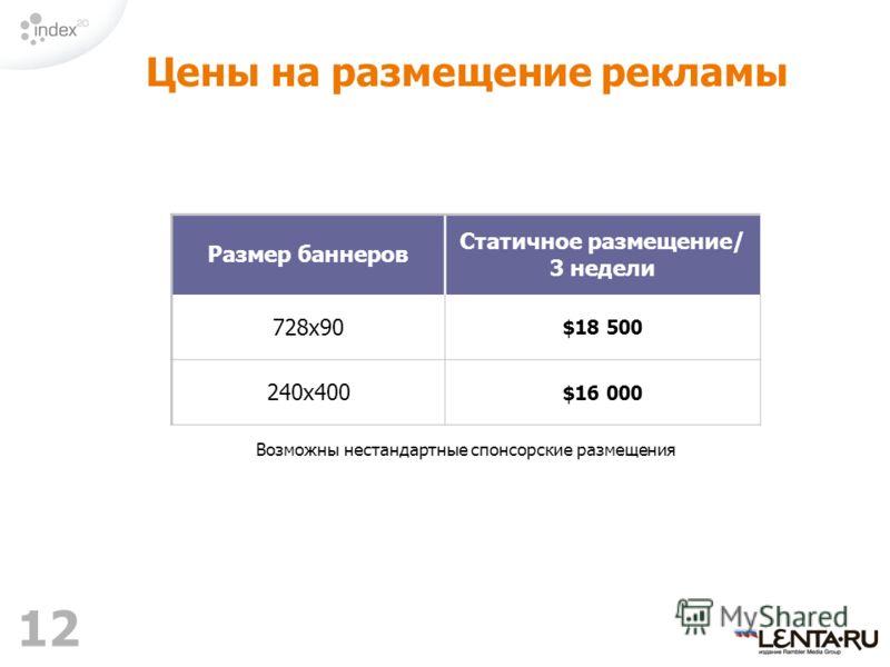 12 Цены на размещение рекламы Размер баннеров Статичное размещение/ 3 недели 728х90 $18 500 240х400 $16 000 Возможны нестандартные спонсорские размещения