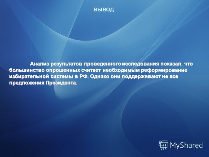 Возможности применения инновационных методов в избирательной системе предложенных Президентом РФ Дмитрием Медведевым ВЫВОД Анализ результатов проведенного исследования показал, что большинство опрошенных считает необходимым реформирование избирательн