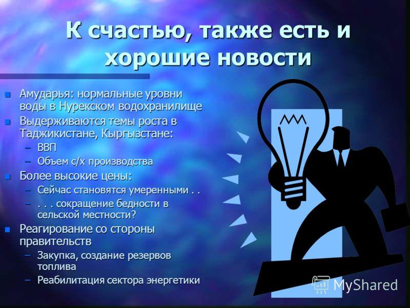 К счастью, также есть и хорошие новости n Амударья: нормальные уровни воды в Нурекском водохранилище n Выдерживаются темы роста в Таджикистане, Кыргызстане: –ВВП –Объем с/х производства n Более высокие цены: –Сейчас становятся умеренными.. –... сокра