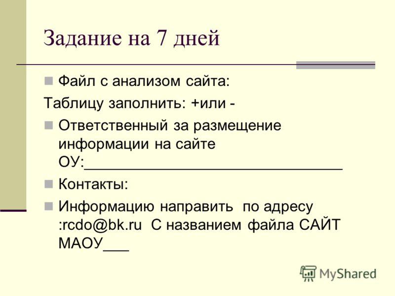 Задание на 7 дней Файл с анализом сайта: Таблицу заполнить: +или - Ответственный за размещение информации на сайте ОУ:______________________________ Контакты: Информацию направить по адресу :rcdo@bk.ru С названием файла САЙТ МАОУ___