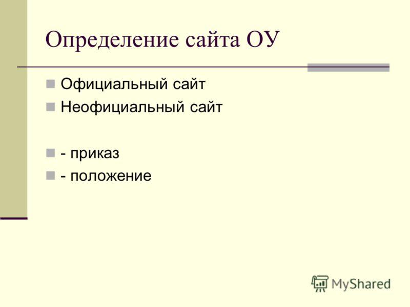 Определение сайта ОУ Официальный сайт Неофициальный сайт - приказ - положение