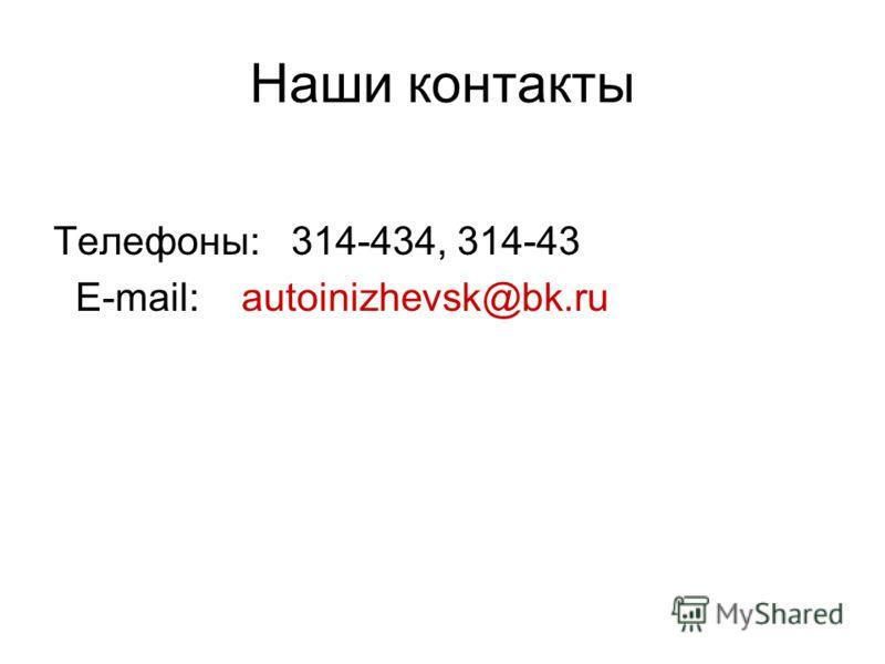 Наши контакты Телефоны: 314-434, 314-43 E-mail: autoinizhevsk@bk.ru