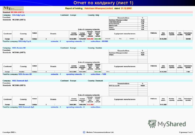 Круглый стол Мобильный бизнес, Санта-Круз, 14-21 ноября 2003 г. Отчет по холдингу (лист 1)