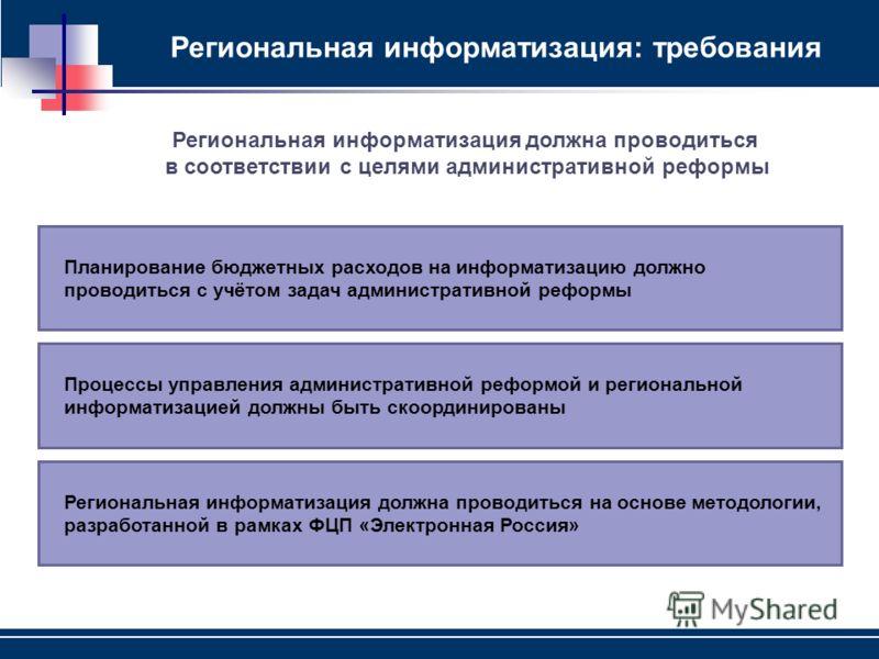 Региональная информатизация: требования Региональная информатизация должна проводиться на основе методологии, разработанной в рамках ФЦП «Электронная Россия» Процессы управления административной реформой и региональной информатизацией должны быть ско